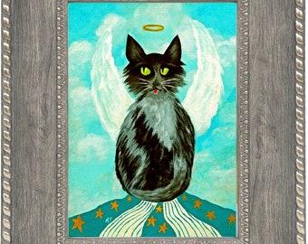 Angel Cat Print Framed, Black Cat Art Print, Whimsical Art, Wall Decor, Home Decor