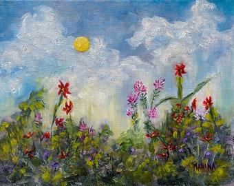 Landscape Oil Painting Plein Air, Flower Painting, Plein Air Painting, Wall Art, Home Decor, Wall Decor