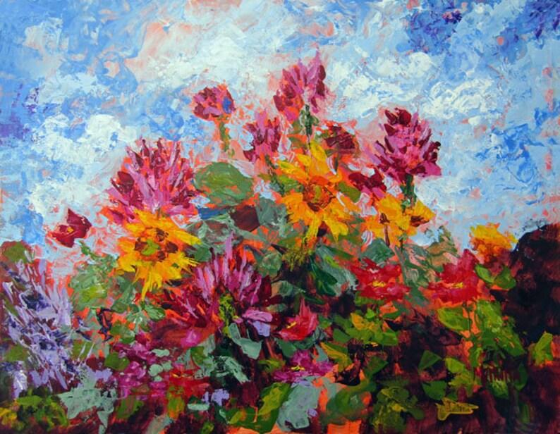 Original Flower Palette Knife Painting Flower GardenArt Home image 0