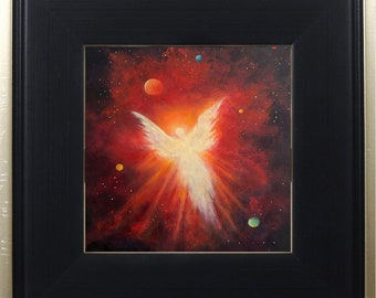 Angel Print Framed, Heavens Angel Art Print, Guardian Angel, Celestial, Angel Decor, Spiritual Art, Home Decor