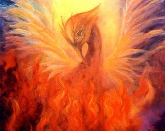 Phoenix Print Poster, Phoenix Rising,Firebird, Fine art print, home decor, Wall Art,