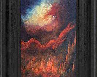 Phoenix Rising Art Print, Phoenix Firebird,Fantasy Art, Framed Fine art print, Home decor, wall art