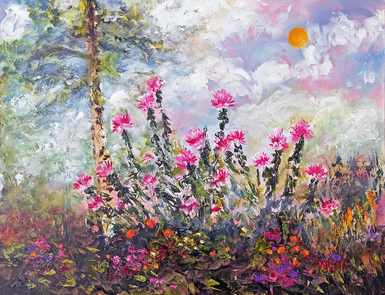 Plein Air Landscape Flower Painting Original Oil Painting image 0
