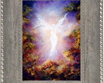 Angel Art Print Framed, Angel, Guardian Angel, Spiritual Art, Angel Gift, Wall Decor, Home Decor