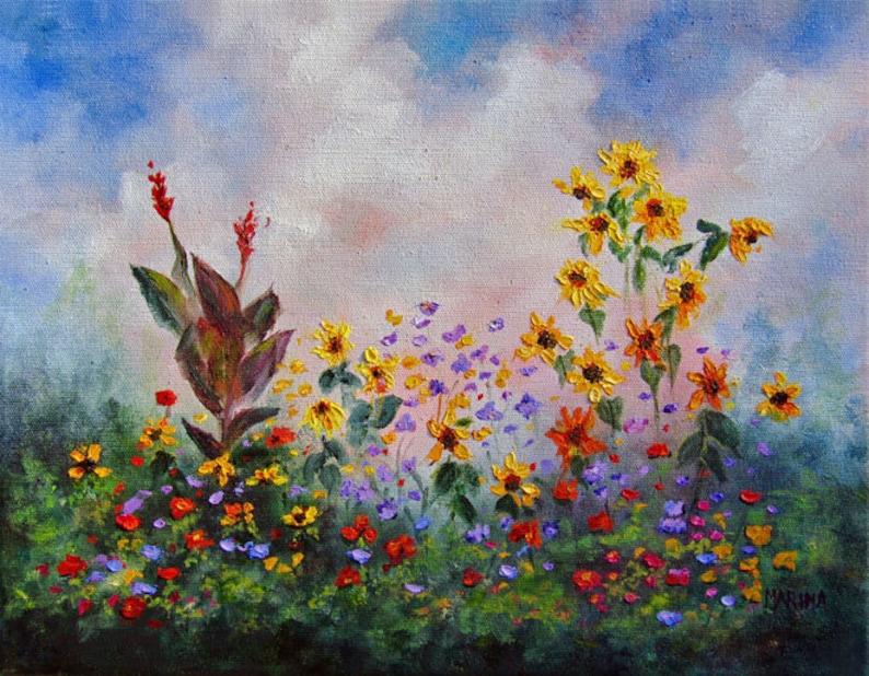 Landscape Flower Painting Original Art Flower Painting image 0