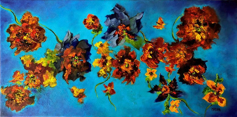 Flower Painting Original Abstract Flower Oil Painting  image 0