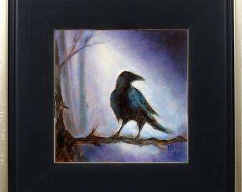 Crow Art Print Framed, Crow Bird Print, Bird Art, Animal Art, Black Bird, Wall Art, Home Decor,