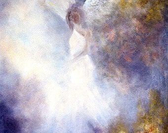 Guardian Angel Print, Angel Art, Angel Poster Print, Spiritual Gift, Angel, Home Decor