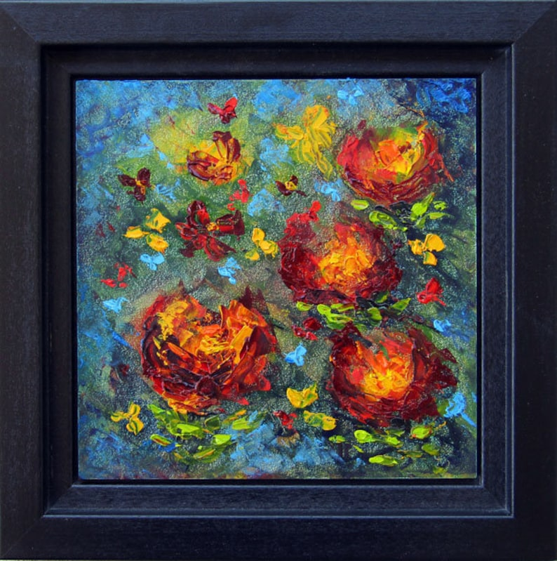 Abstract Flower Painting Framed Original Flower Oil Painting image 0
