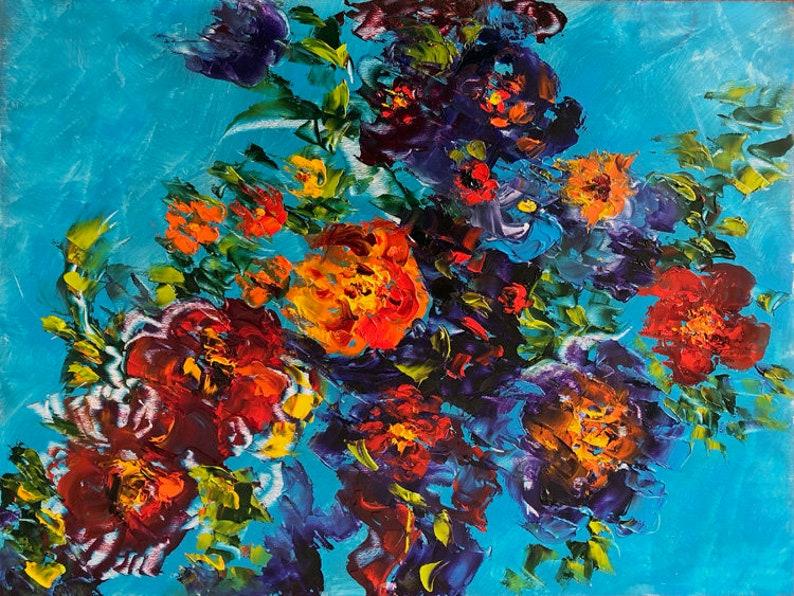 Flower Oil Painting Original Abstract Flower Art Palette image 0
