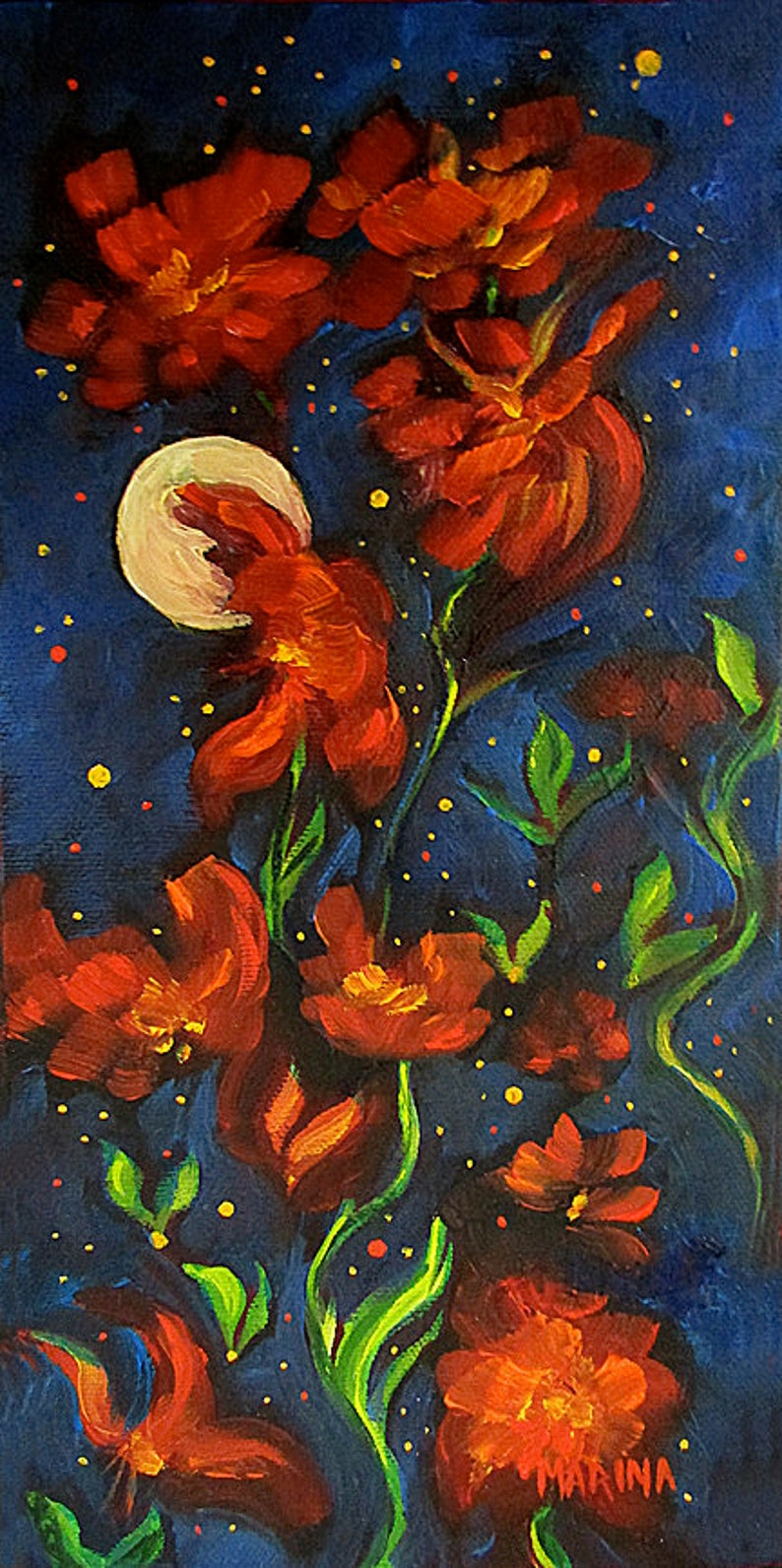 Floral Artwork Original Abstract Oil Painting Flower image 0