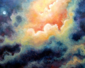 Landscape Skyscape Print Poster, Cloud Painting,  Fine Art Print, Home Decor, signed prints,