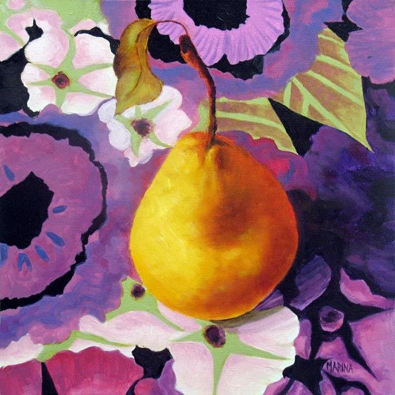 Original Stiil Life Oil Painting Original Art Fruit Pear image 0