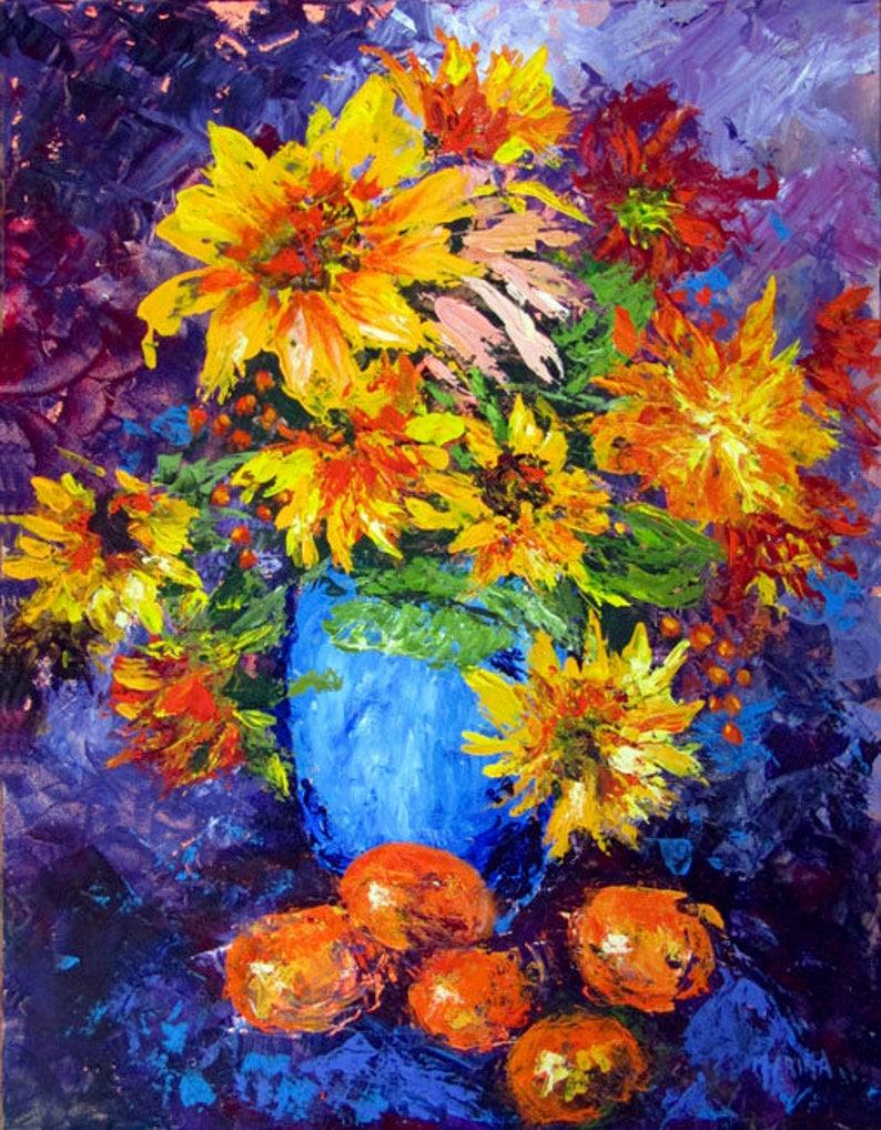 Sunflower Painting Original Flower Oil Painting Sunflower image 0