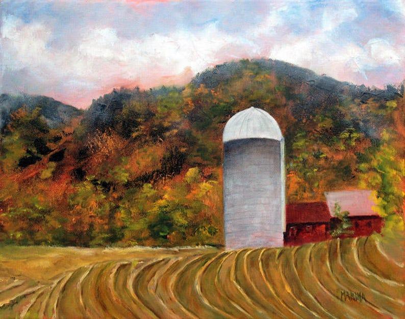 Painting Autumn Landscape Rural Landscape Original Oil image 0