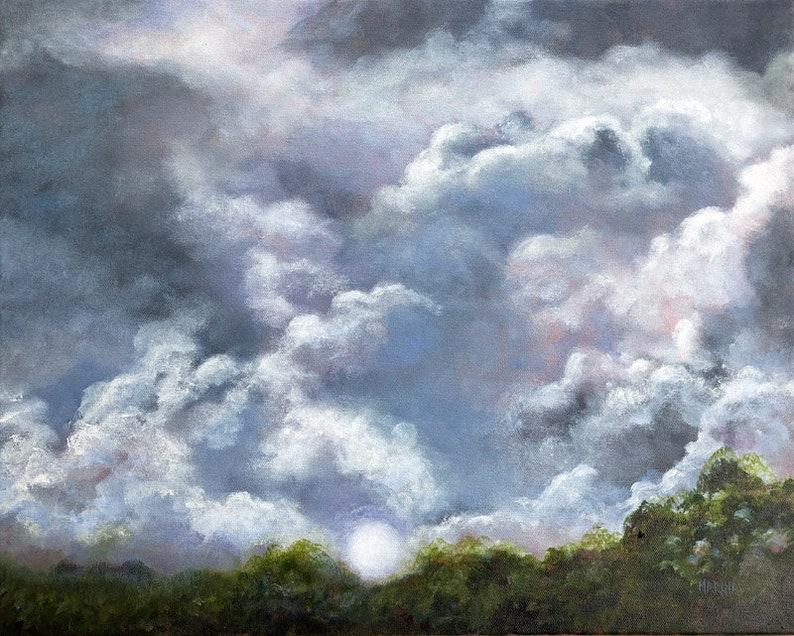 Original Painting Landscape Clouds Storm Clouds Oil Painting image 0