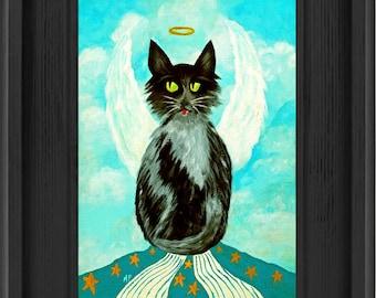 Black Angel Cat Print Framed, Angel Art, Whimsical Art, Cat Print, Wall Decor, Mischievous Angel