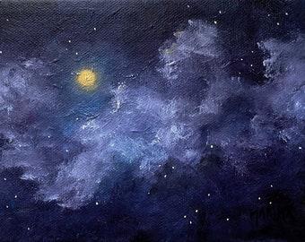 Original Oil Painting Moon, Celestial Full Moon Stars Oil Painting, Night Sky Painting, Moon and Clouds painting, home decor, wall decor
