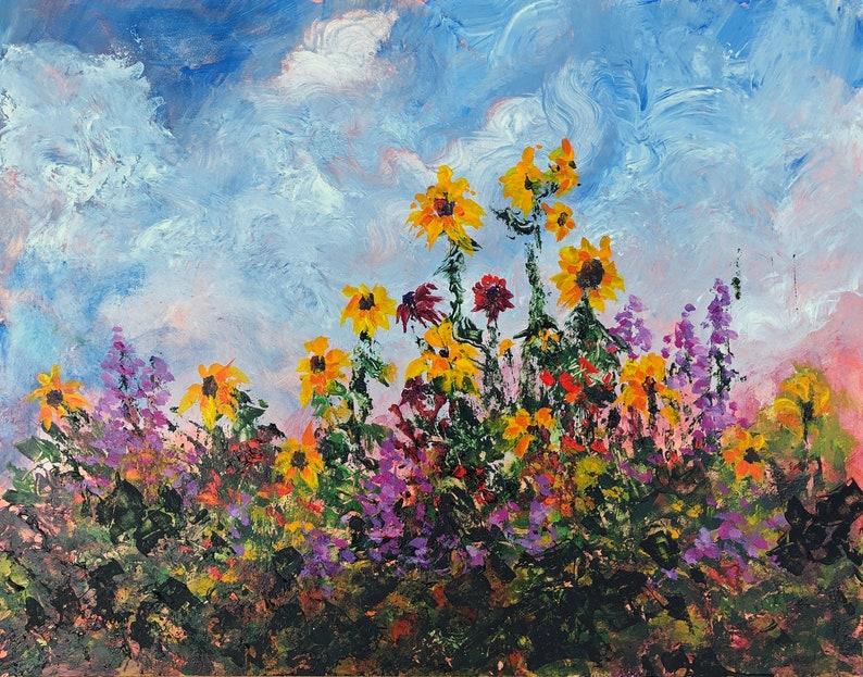 Flower Painting Sunflowers Original Floral Art English image 0
