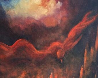 Phoenix Print Poster, Phoenix Rising Art Print,Firebird, Phoenix Returns,Fine art print