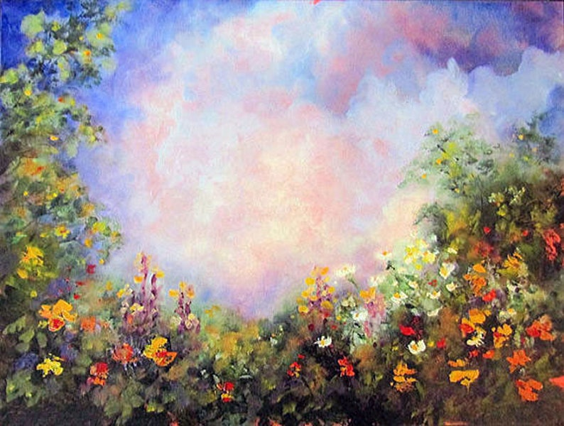 Landscape Flower Garden Painting Original Floral Oil image 0