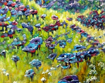 Blue Mountains Flowers Large Original Oil Painting by Prankearts