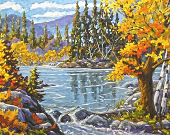 Great Canadian Lake  - Large Original Oil Painting - Created by Prankearts