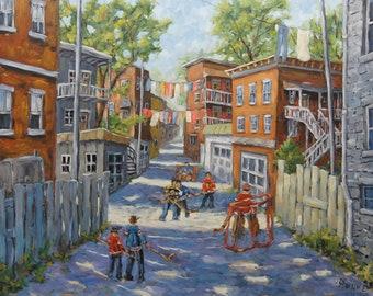 Original Six Back Lanes_Hockey Scene_Large Original Oil Painting created by Prankearts