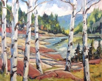 """Canadian Shield -  End of Summer Landscape - Original Oil Painting - 24X20X0.75"""" created by Prankearts"""