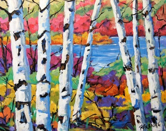 Canadian Birches Original Painting by Prankearts