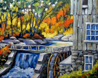 Mill Scene Woods in Fall Fine arts Original Oil Painting by Richard T. Pranke