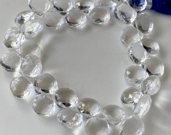 AAA quality 20 cm ON SALE 1 strand strand 8-15 mm approx Tourmalated Quartz Faceted Heart Briolettes