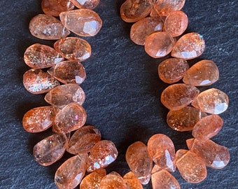 7*9mm 29 Pieces Black Sunstone Smooth Pear Briolettes MO182 Black Sunstone Smooth Briolettes