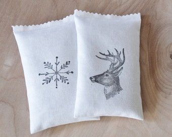 Outdoorsman Gift, Balsam Drawer Sachets, Snowflake and Deer Head, Winter Wedding Favors, Woodland Decor