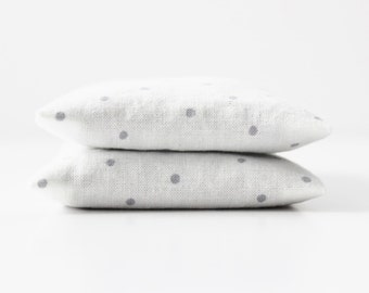 White Minimalist Lavender Sachets, Organic Home Fragrance,  Gray Polka Dot Modern Decor
