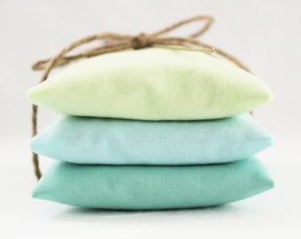 Blue Green Lavender Sachets, Modern Minimalist Beach Home Decor, Seaside Decor, Gift for Women