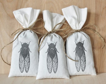 Cicada Lavender Sachet Bags, Natural Scent Drawer Freshener, Scented Drawer Sachets, Nature Home Decor