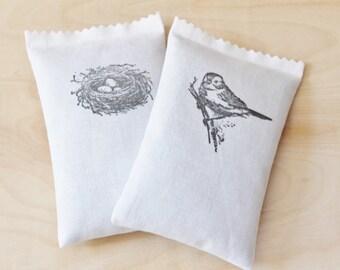 Country Style Lavender Sachets, Bird on Branch / Birds Nest Nature Decor, Drawer Freshener, Spring Shower Hostess Gift