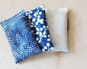 Batik Lavender Sachets - Drawer Sachets - Modern Bohemian Bedroom Decor - Scented Sachets - Cobalt Blue White
