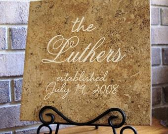 Wedding Tile - Anniversary Tile - Personalized Wedding Tile - Anniversary Date - Wedding Gift - Anniversary Gift - Wedding Keepsake - Bride