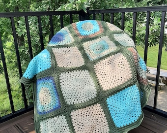 New Granny Square Throw Blanket, Ready to Ship