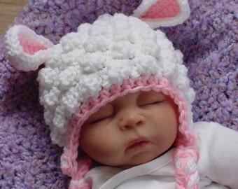 Fuzzy Lamb Hat,  Newborn to 12 month sizes, Photo prop, Baby Lamb Hat