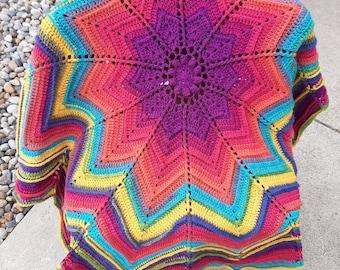 Star Ripple Afghan, Soft, Farmhouse Crochet, Handmade Crochet Blanket