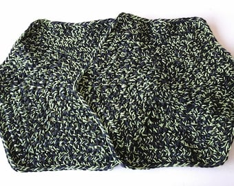 Hexagon dishcloth, cotton, set of two, black with lime green, handmade