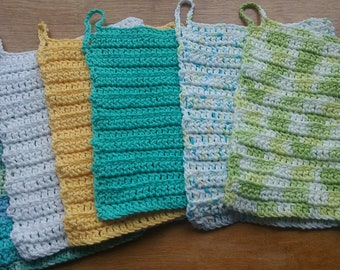 Six Extra Large Cotton Dishcloths and washcloths, Handmade crochet, ready to ship