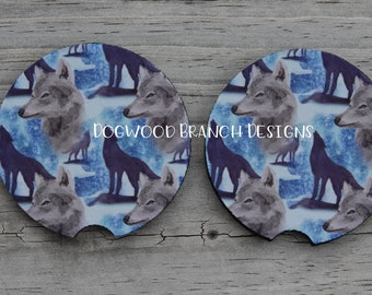 WOLF #11 Wolves wild spiritual dog howling moon SET OF 4 WOOD DRINK COASTERS