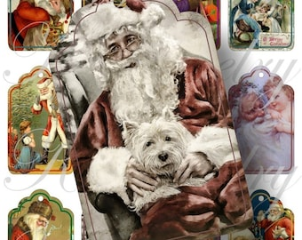 Vintage Santa Tags for scrapbook and more igital collage sheets No.75