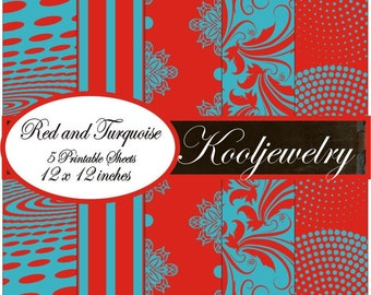 Red and turquoise paper pack - No.21