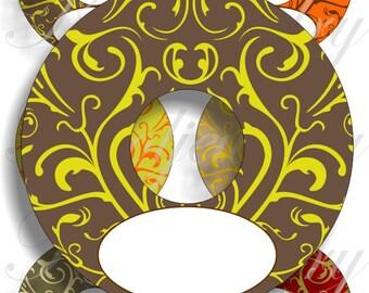 Printable Earth colors Wine Glass Slipper Name Card Tag digital sheet No.1238