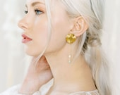 Dita Earrings: modern hammered gold detail // pearl accents